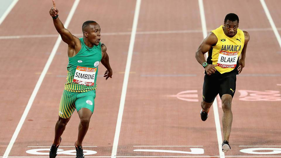 Simbine upstages Blake in 100-meter dash at Commonwealth Games