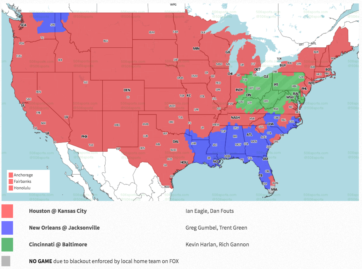 NFL Week 6 coverage map: TV schedule for CBS, Fox regional broadcasts