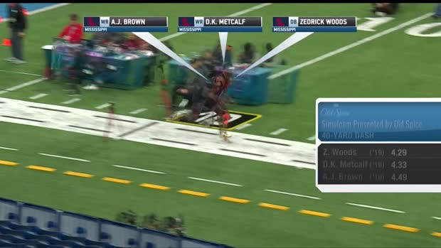 33e9554bf51 NFL: Simulcam: Ole Miss speed! Safety Zedrick Woods races wide receiver  D.K. Metcalf, WR A.J. Brown